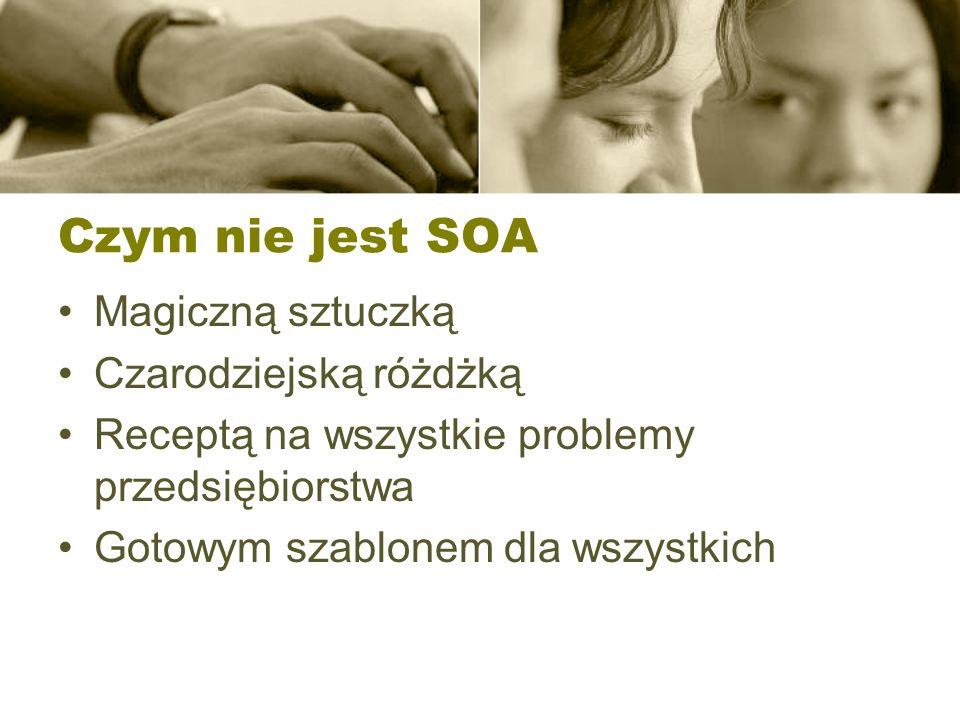 Czym nie jest SOA Magiczną sztuczką Czarodziejską różdżką Receptą na wszystkie problemy przedsiębiorstwa Gotowym szablonem dla wszystkich