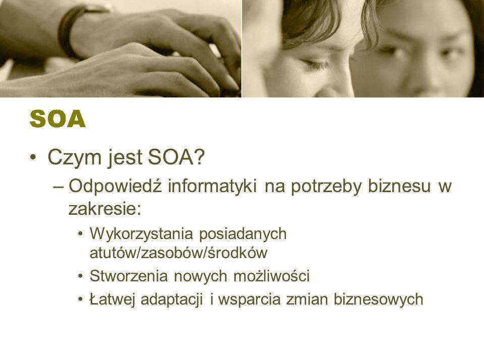SOA Nadrzędny cel architektury SOA Łatwe i szybkie tworzenie i rozszerzanie systemów informatycznych precyzyjnie wspierających osiąganie celów biznesowych przez przedsiębiorstwo w zmiennych warunkach ekonomicznych