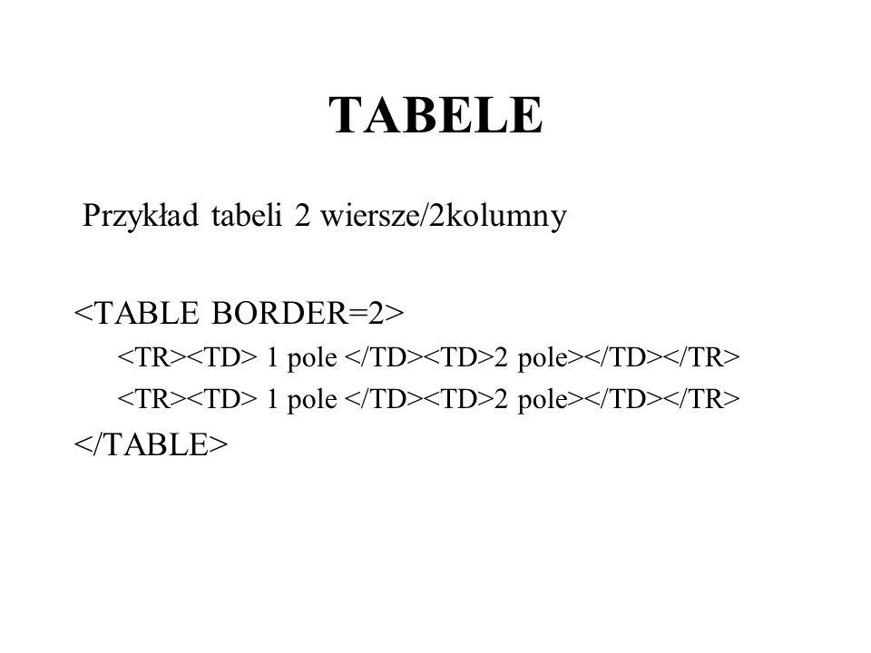 TABELE Przykład tabeli 2 wiersze/2kolumny 1 pole 2 pole>