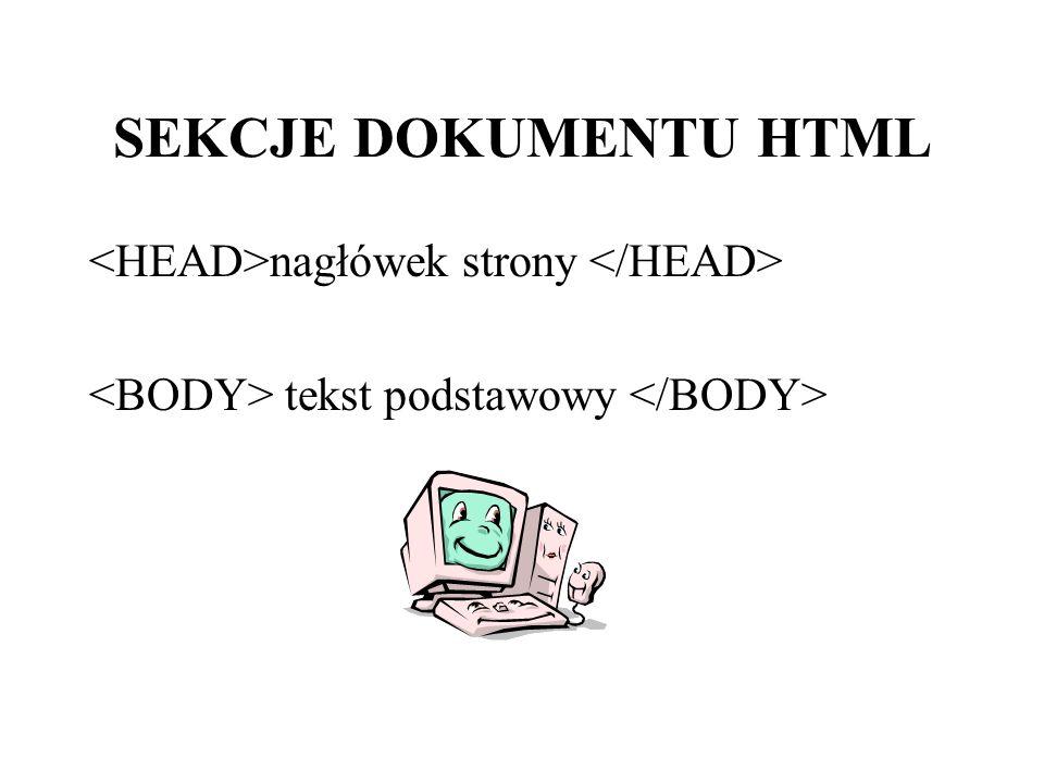 SEKCJE DOKUMENTU HTML nagłówek strony tekst podstawowy