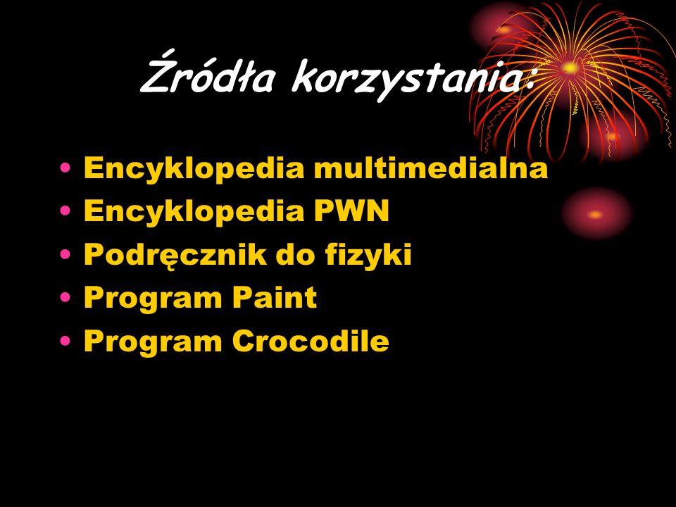 Źródła korzystania: Encyklopedia multimedialna Encyklopedia PWN Podręcznik do fizyki Program Paint Program Crocodile