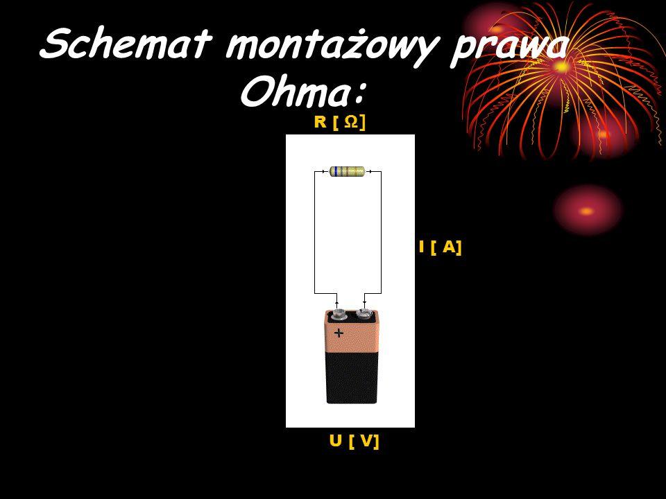 Schemat montażowy prawa Ohma: U [ V] I [ A] R [ Ω]