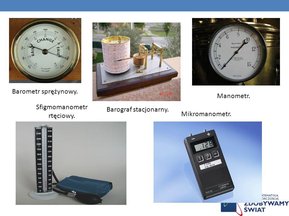 Barometr sprężynowy. Barograf stacjonarny. Manometr. Sfigmomanometr rtęciowy. Mikromanometr.