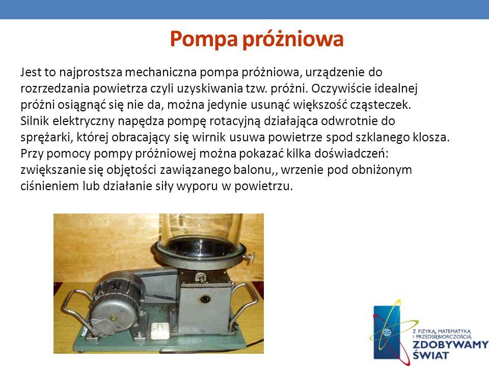 Pompa próżniowa Jest to najprostsza mechaniczna pompa próżniowa, urządzenie do rozrzedzania powietrza czyli uzyskiwania tzw. próżni. Oczywiście idealn