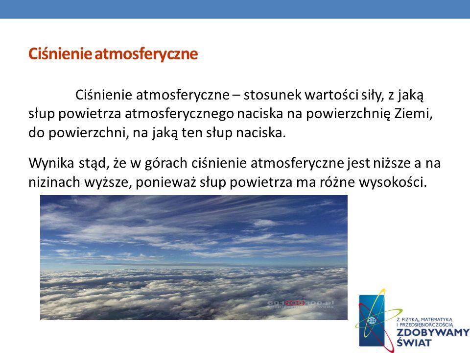 Ciśnienie atmosferyczne Ciśnienie atmosferyczne – stosunek wartości siły, z jaką słup powietrza atmosferycznego naciska na powierzchnię Ziemi, do powi