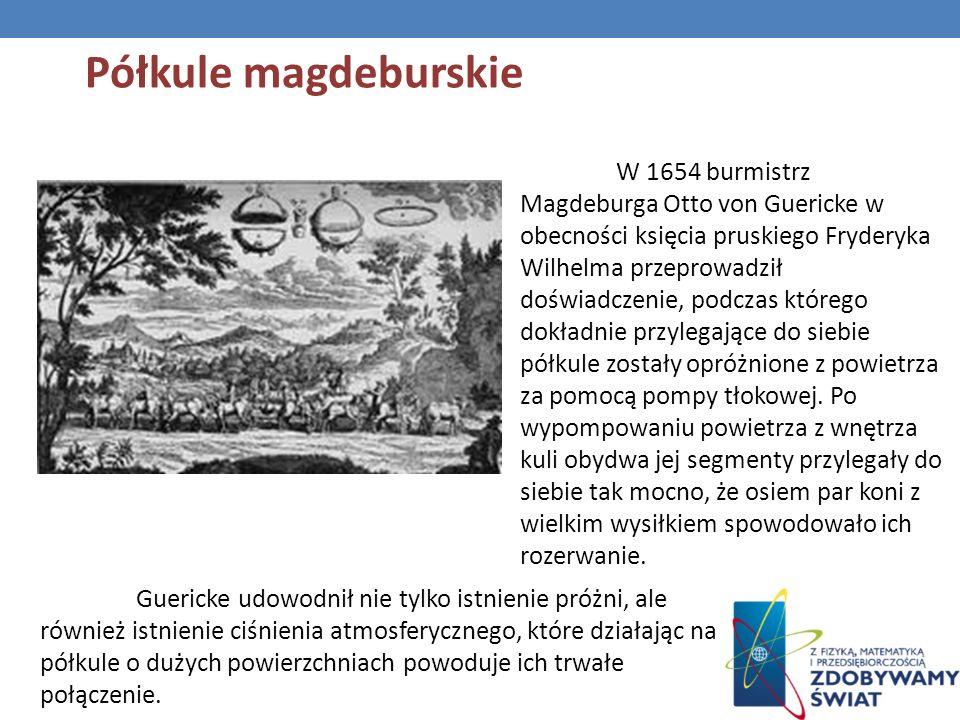 W 1654 burmistrz Magdeburga Otto von Guericke w obecności księcia pruskiego Fryderyka Wilhelma przeprowadził doświadczenie, podczas którego dokładnie