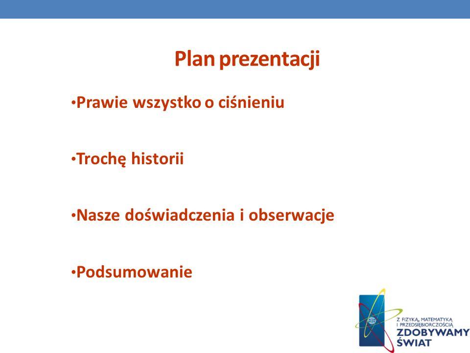 Plan prezentacji Prawie wszystko o ciśnieniu Trochę historii Nasze doświadczenia i obserwacje Podsumowanie