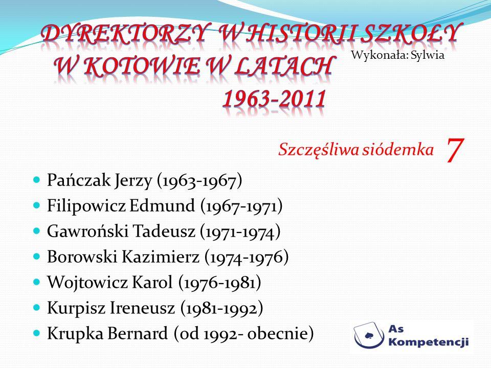 Szczęśliwa siódemka 7 Pańczak Jerzy (1963-1967) Filipowicz Edmund (1967-1971) Gawroński Tadeusz (1971-1974) Borowski Kazimierz (1974-1976) Wojtowicz K