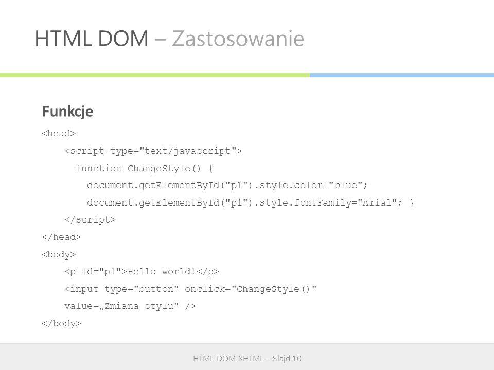 HTML DOM – Zastosowanie HTML DOM XHTML – Slajd 10 Funkcje function ChangeStyle() { document.getElementById(