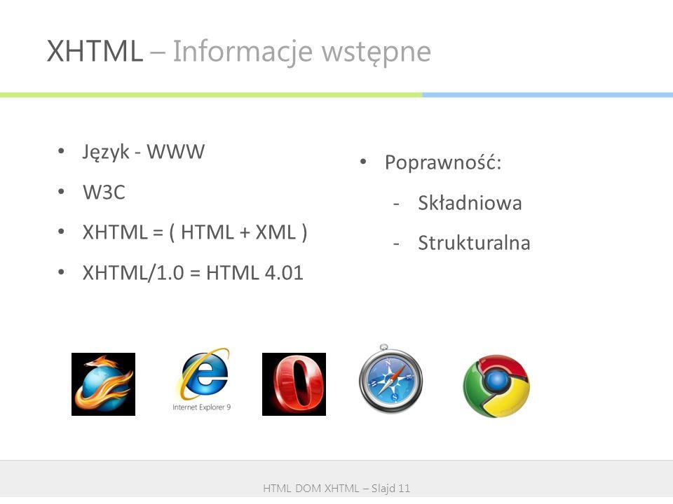 XHTML – Informacje wstępne HTML DOM XHTML – Slajd 11 Język - WWW W3C XHTML = ( HTML + XML ) XHTML/1.0 = HTML 4.01 Poprawność: -Składniowa -Strukturaln