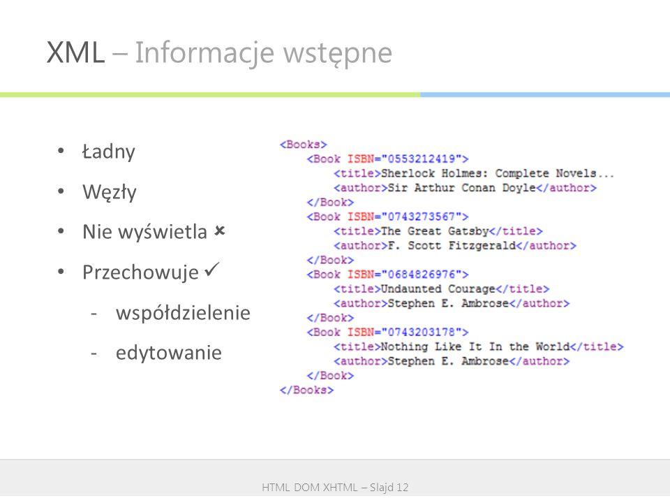 XML – Informacje wstępne HTML DOM XHTML – Slajd 12 Ładny Węzły Nie wyświetla Przechowuje -współdzielenie -edytowanie