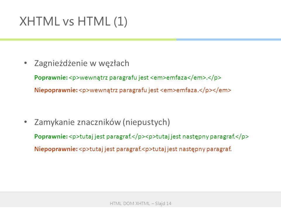 XHTML vs HTML (1) HTML DOM XHTML – Slajd 14 Zagnieżdżenie w węzłach Poprawnie: wewnątrz paragrafu jest emfaza. Niepoprawnie: wewnątrz paragrafu jest e