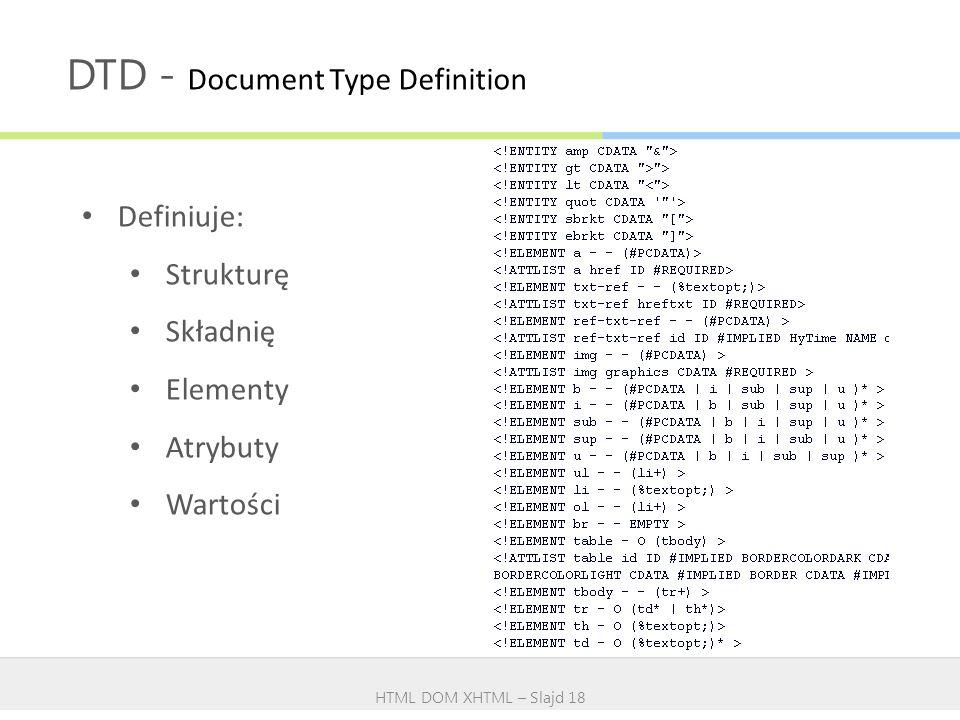 DTD - Document Type Definition HTML DOM XHTML – Slajd 18 Definiuje: Strukturę Składnię Elementy Atrybuty Wartości