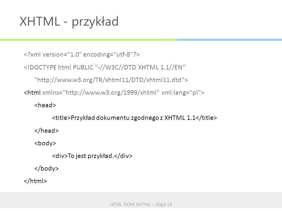 XHTML - przykład HTML DOM XHTML – Slajd 19 Przykład dokumentu zgodnego z XHTML 1.1 To jest przykład.