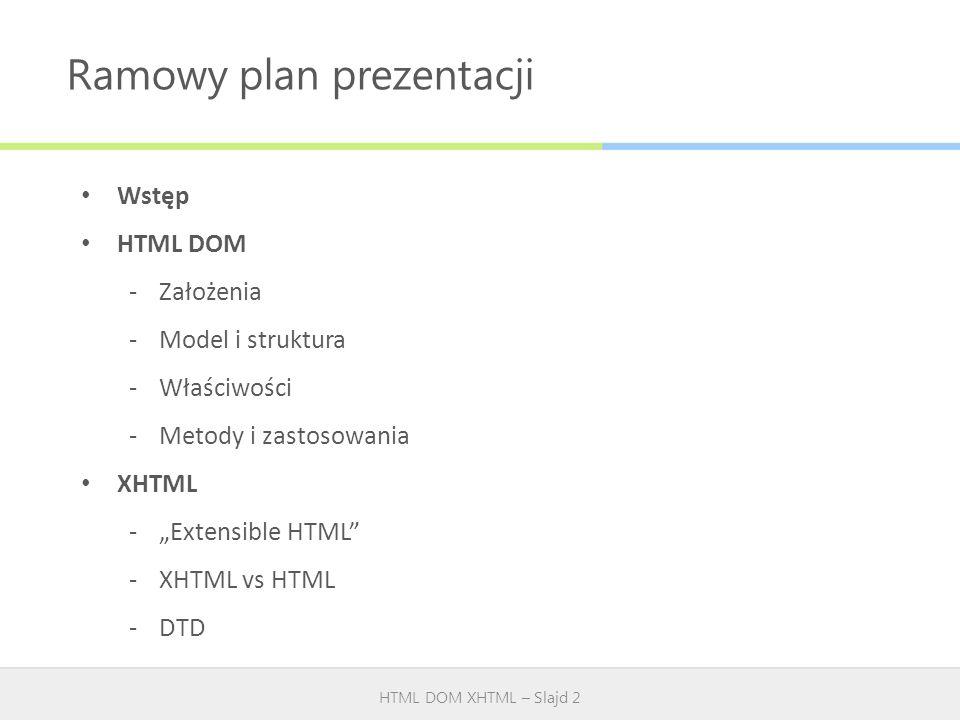 Ramowy plan prezentacji HTML DOM XHTML – Slajd 2 Wstęp HTML DOM -Założenia -Model i struktura -Właściwości -Metody i zastosowania XHTML -Extensible HT
