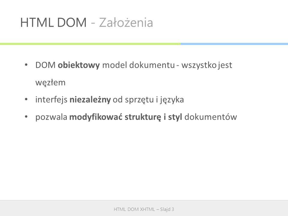 HTML DOM - Założenia HTML DOM XHTML – Slajd 3 DOM obiektowy model dokumentu - wszystko jest węzłem interfejs niezależny od sprzętu i języka pozwala mo