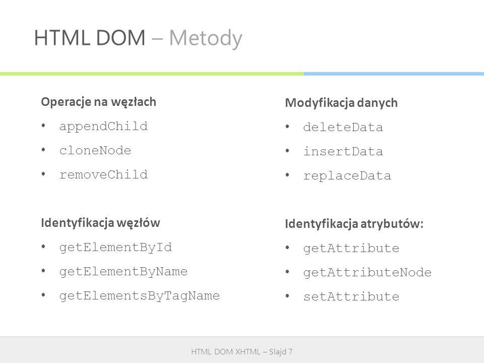 HTML DOM – Metody HTML DOM XHTML – Slajd 7 Operacje na węzłach appendChild cloneNode removeChild Identyfikacja węzłów getElementById getElementByName