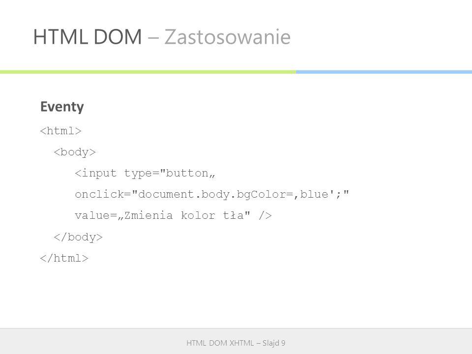 HTML DOM – Zastosowanie HTML DOM XHTML – Slajd 9 Eventy <input type=