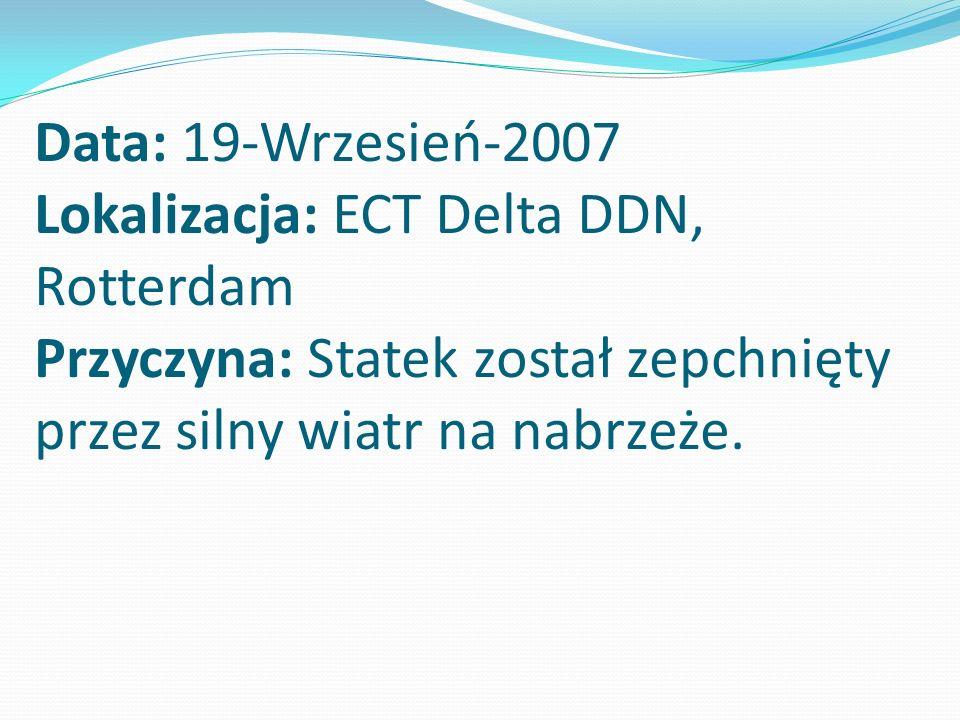 Data: 19-Wrzesień-2007 Lokalizacja: ECT Delta DDN, Rotterdam Przyczyna: Statek został zepchnięty przez silny wiatr na nabrzeże.