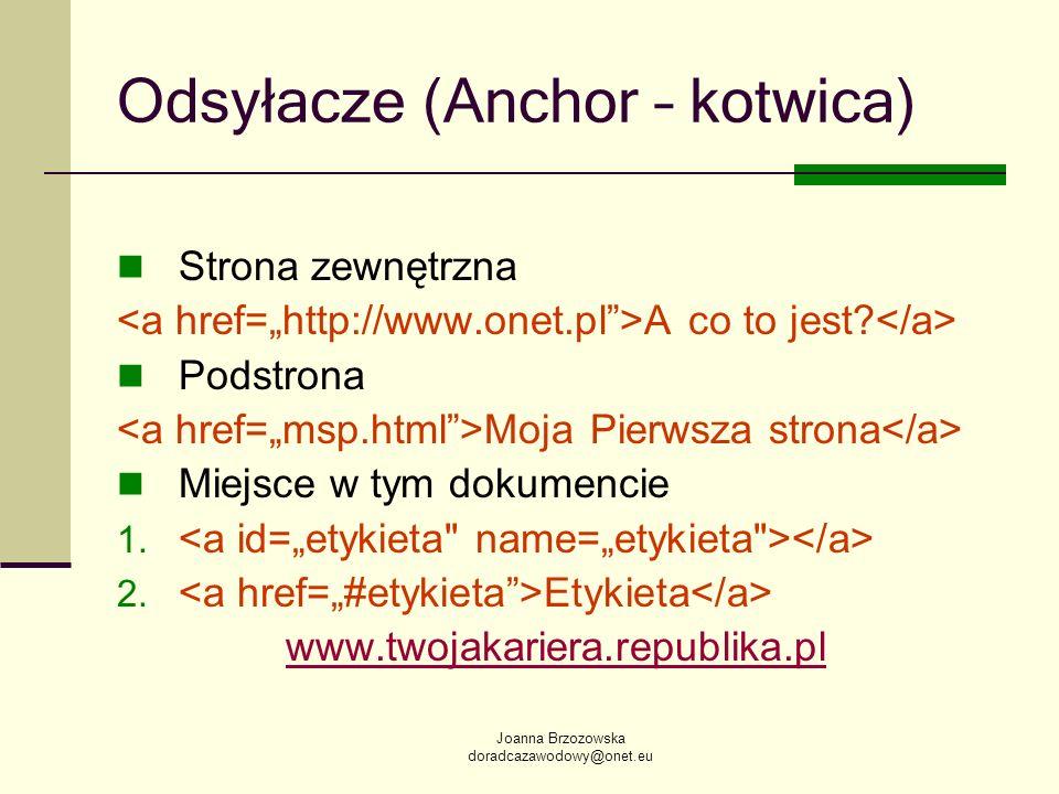 Joanna Brzozowska doradcazawodowy@onet.eu Odsyłacze (Anchor – kotwica) Strona zewnętrzna A co to jest? Podstrona Moja Pierwsza strona Miejsce w tym do