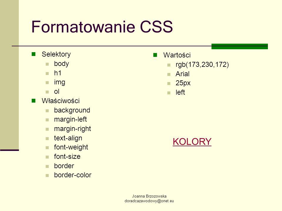 Joanna Brzozowska doradcazawodowy@onet.eu Formatowanie CSS Selektory body h1 img ol Właściwości background margin-left margin-right text-align font-we