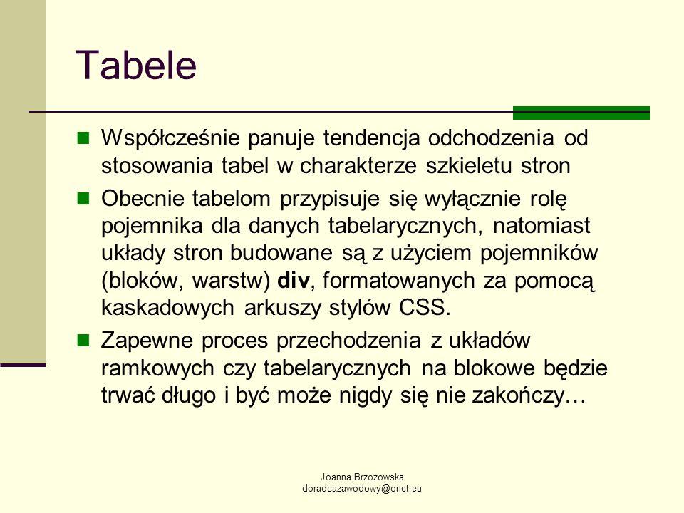 Joanna Brzozowska doradcazawodowy@onet.eu Tabele Współcześnie panuje tendencja odchodzenia od stosowania tabel w charakterze szkieletu stron Obecnie t