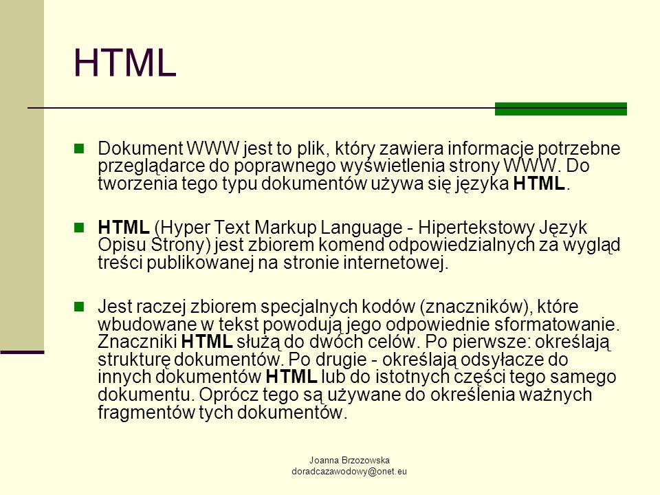 Joanna Brzozowska doradcazawodowy@onet.eu HTML Dokument WWW jest to plik, który zawiera informacje potrzebne przeglądarce do poprawnego wyświetlenia s