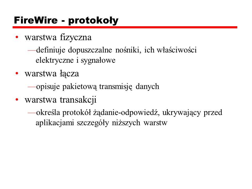 FireWire - protokoły warstwa fizyczna definiuje dopuszczalne nośniki, ich właściwości elektryczne i sygnałowe warstwa łącza opisuje pakietową transmis