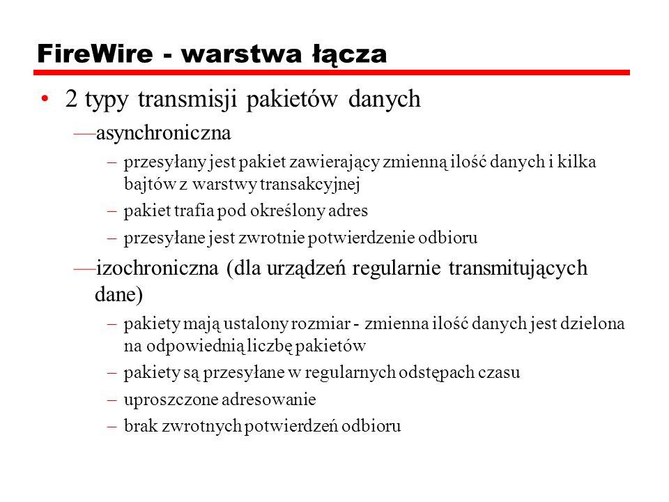 FireWire - warstwa łącza 2 typy transmisji pakietów danych asynchroniczna –przesyłany jest pakiet zawierający zmienną ilość danych i kilka bajtów z wa
