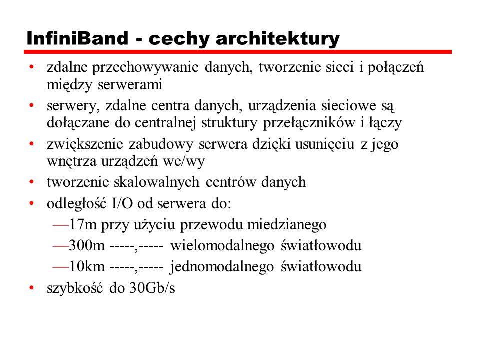 InfiniBand - cechy architektury zdalne przechowywanie danych, tworzenie sieci i połączeń między serwerami serwery, zdalne centra danych, urządzenia si
