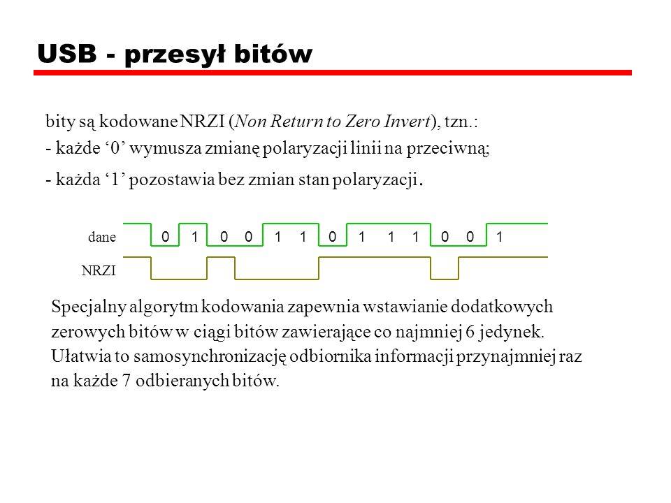 0 1 0 0 1 1 0 1 1 1 0 0 1 USB - przesył bitów bity są kodowane NRZI (Non Return to Zero Invert), tzn.: - każde 0 wymusza zmianę polaryzacji linii na p