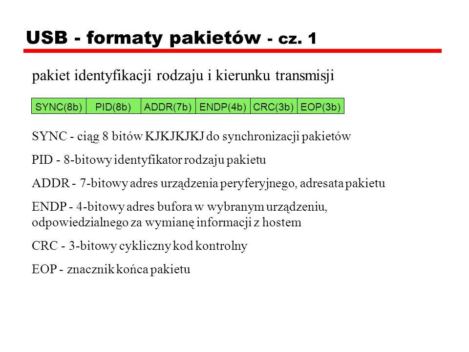 USB - formaty pakietów - cz. 1 pakiet identyfikacji rodzaju i kierunku transmisji SYNC - ciąg 8 bitów KJKJKJKJ do synchronizacji pakietów PID - 8-bito