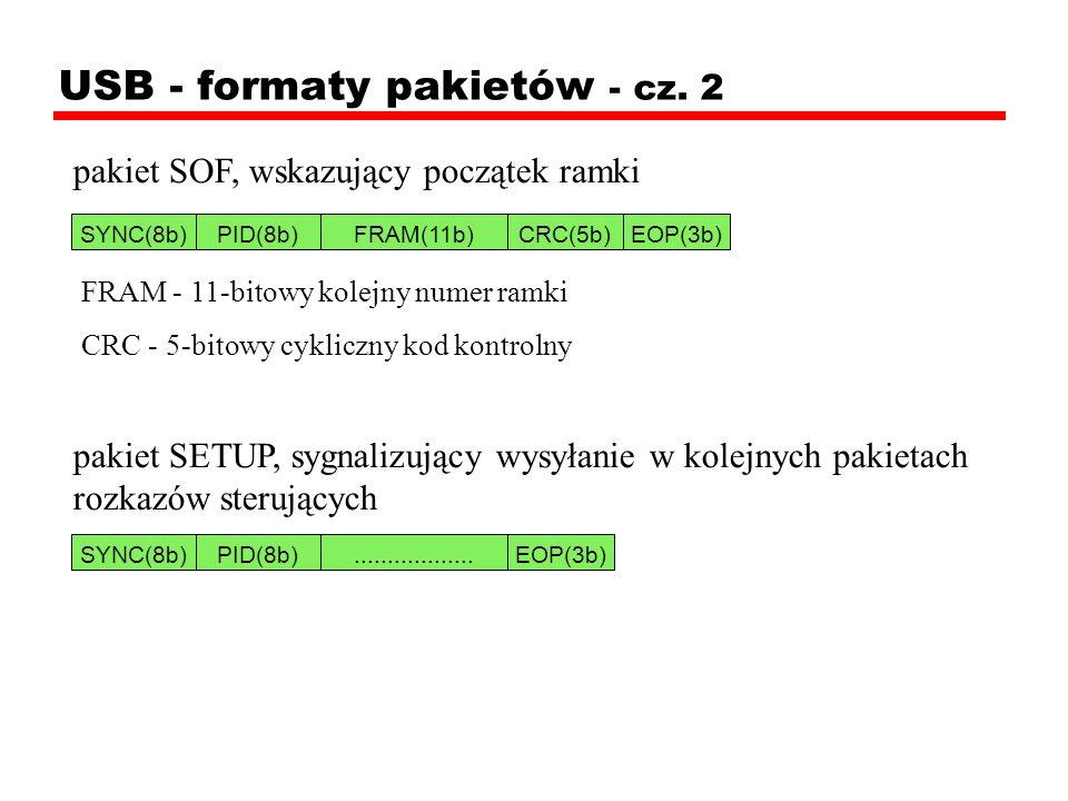 USB - formaty pakietów - cz. 2 pakiet SOF, wskazujący początek ramki FRAM - 11-bitowy kolejny numer ramki CRC - 5-bitowy cykliczny kod kontrolny pakie