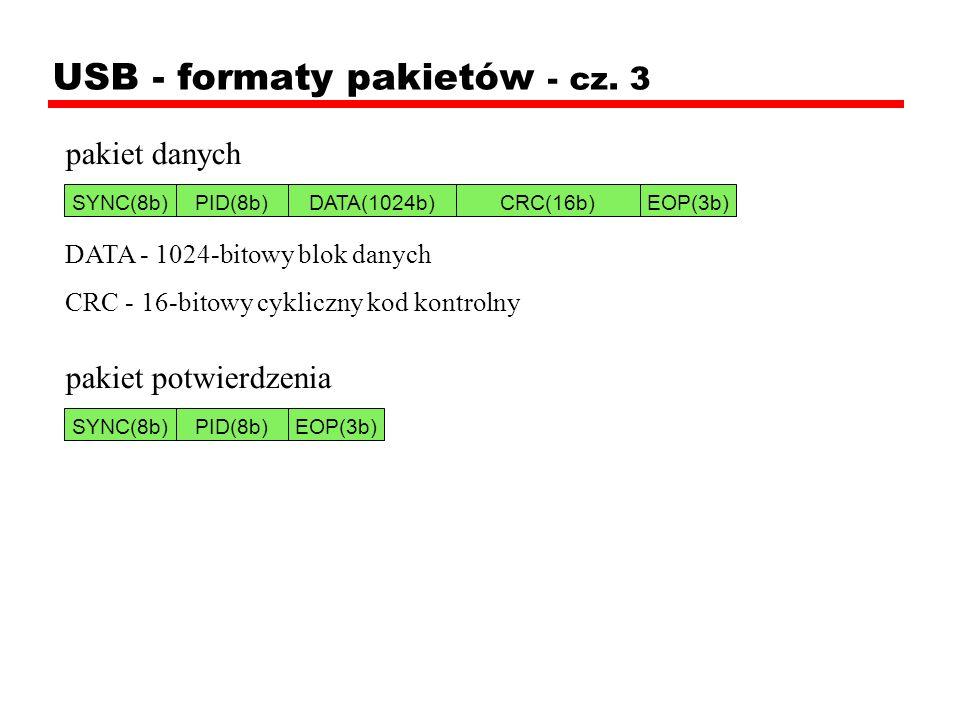 USB - formaty pakietów - cz. 3 pakiet danych DATA - 1024-bitowy blok danych CRC - 16-bitowy cykliczny kod kontrolny pakiet potwierdzenia SYNC(8b)PID(8