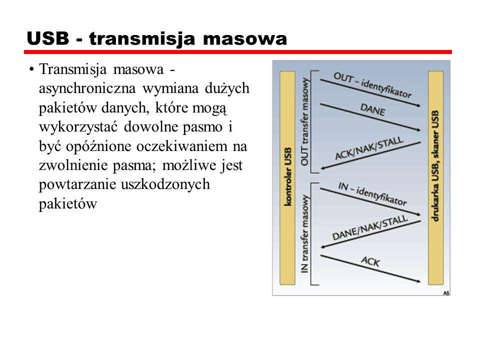 USB - transmisja masowa Transmisja masowa - asynchroniczna wymiana dużych pakietów danych, które mogą wykorzystać dowolne pasmo i być opóźnione oczeki