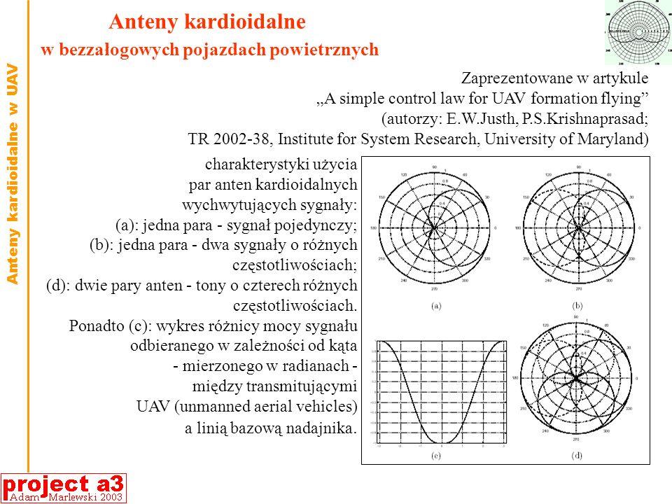 Anteny kardioidalne w bezzałogowych pojazdach powietrznych charakterystyki użycia par anten kardioidalnych wychwytujących sygnały: (a): jedna para - sygnał pojedynczy; (b): jedna para - dwa sygnały o różnych częstotliwościach; (d): dwie pary anten - tony o czterech różnych częstotliwościach.