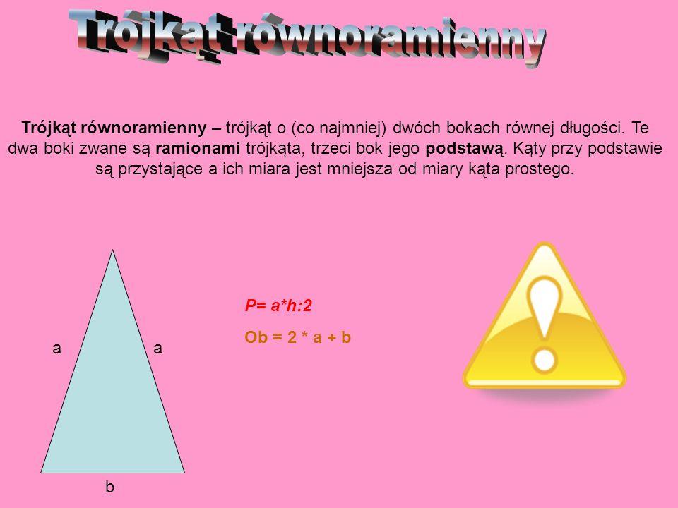 Trójkąt równoramienny – trójkąt o (co najmniej) dwóch bokach równej długości. Te dwa boki zwane są ramionami trójkąta, trzeci bok jego podstawą. Kąty