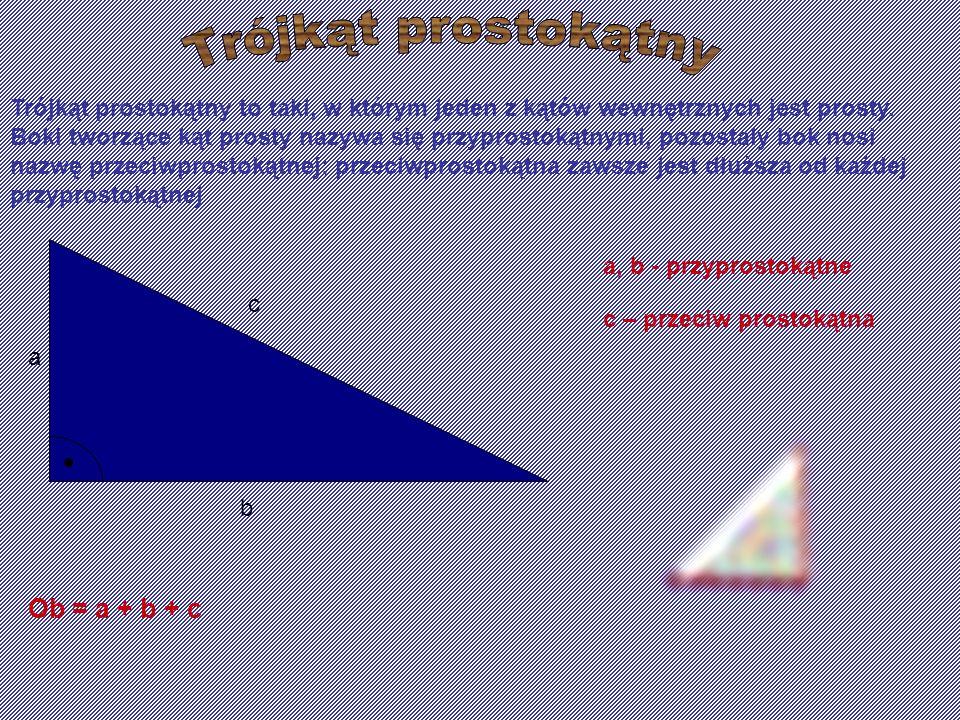 Trójkąt prostokątny to taki, w którym jeden z kątów wewnętrznych jest prosty. Boki tworzące kąt prosty nazywa się przyprostokątnymi, pozostały bok nos