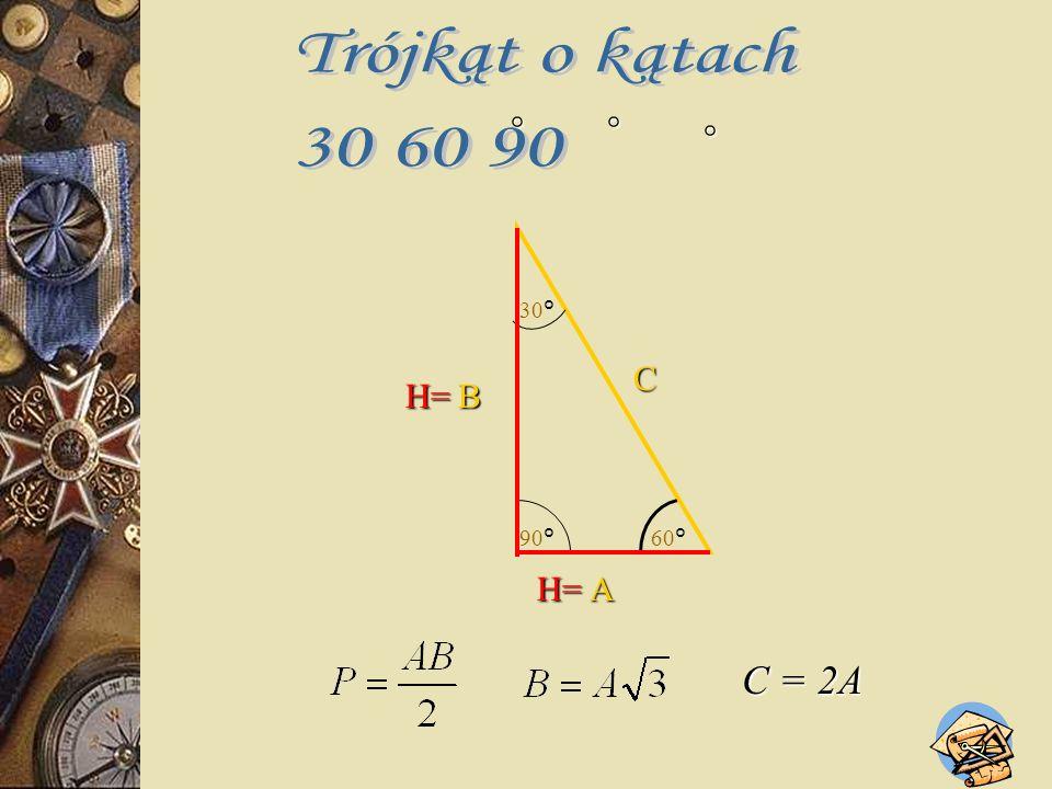 Trójkąt równoboczny ma wszystkie boki równej długości i wszystkie kąty równe 60°. H α, β, γ = 60° A AA αβ γ