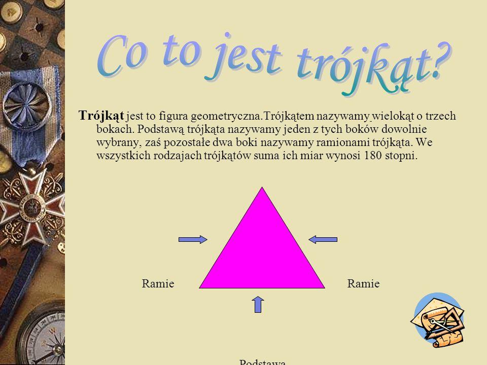 Co to jest trójkąt? Podział trójkątów. Pojęcia związane z trójkątami. Wybrane trójkąty i ich własności. Przystawanie trójkątów. Twierdzenie Pitagorasa