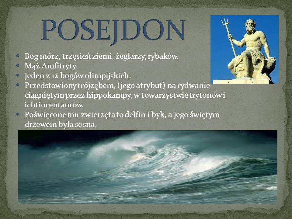 Bóg mórz, trzęsień ziemi, żeglarzy, rybaków. Mąż Amfitryty. Jeden z 12 bogów olimpijskich. Przedstawiony trójzębem, (jego atrybut) na rydwanie ciągnię