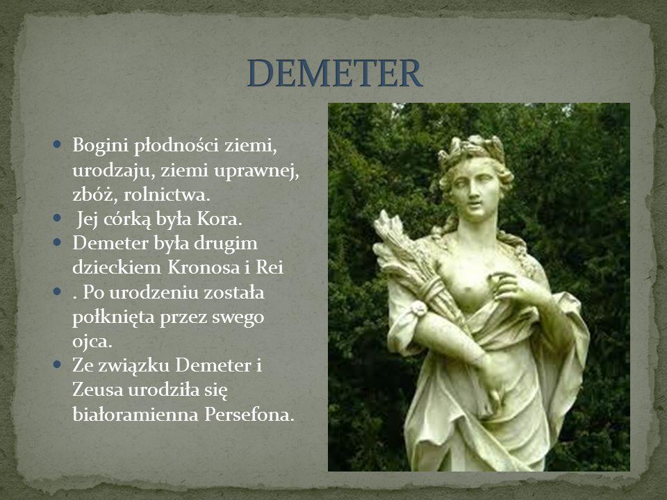 Bogini płodności ziemi, urodzaju, ziemi uprawnej, zbóż, rolnictwa. Jej córką była Kora. Demeter była drugim dzieckiem Kronosa i Rei. Po urodzeniu zost