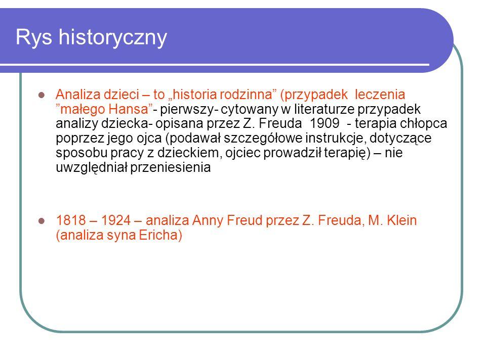 Rys historyczny Analiza dzieci – to historia rodzinna (przypadek leczenia małego Hansa- pierwszy- cytowany w literaturze przypadek analizy dziecka- op