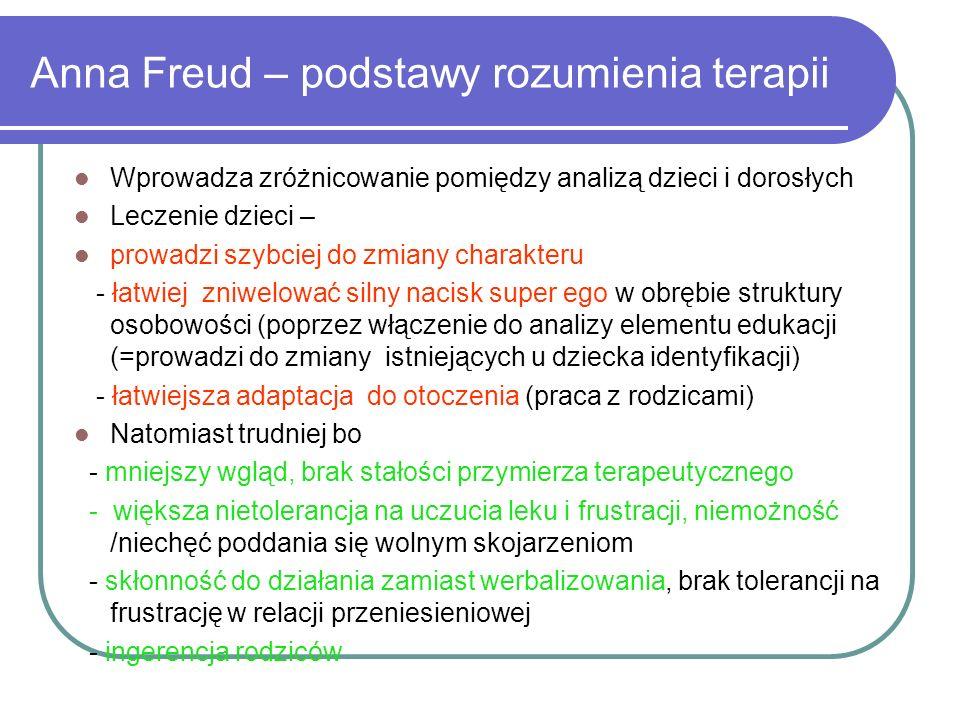 Anna Freud – podstawy rozumienia terapii Wprowadza zróżnicowanie pomiędzy analizą dzieci i dorosłych Leczenie dzieci – prowadzi szybciej do zmiany cha