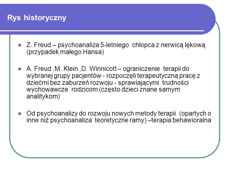 Rys historyczny Z. Freud – psychoanaliza 5-letniego chłopca z nerwicą lękową (przypadek małego Hansa) A. Freud,M. Klein,D. Winnicott – ograniczenie te