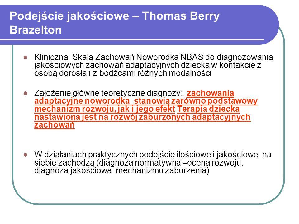 Podejście jakościowe – Thomas Berry Brazelton Kliniczna Skala Zachowań Noworodka NBAS do diagnozowania jakościowych zachowań adaptacyjnych dziecka w k