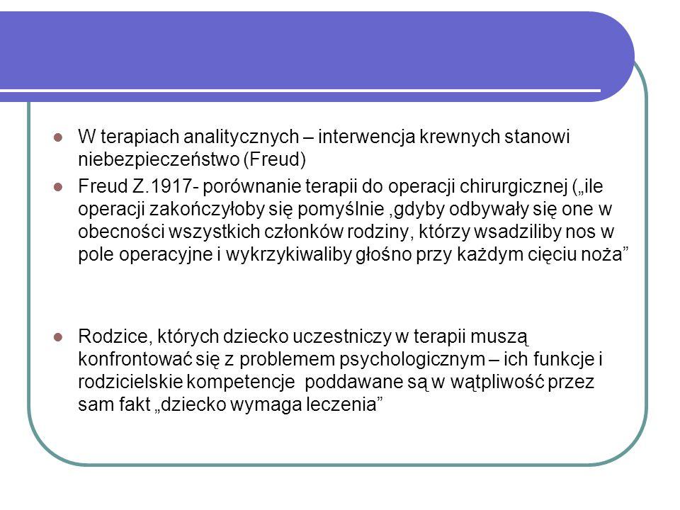 W terapiach analitycznych – interwencja krewnych stanowi niebezpieczeństwo (Freud) Freud Z.1917- porównanie terapii do operacji chirurgicznej (ile ope