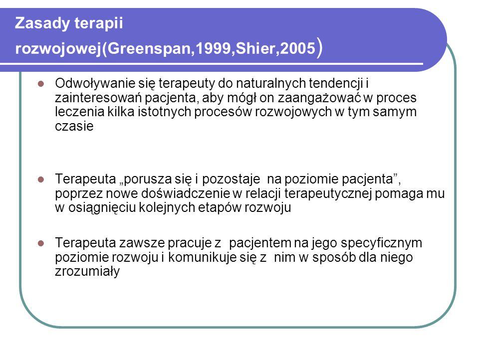 Zasady terapii rozwojowej(Greenspan,1999,Shier,2005 ) Odwoływanie się terapeuty do naturalnych tendencji i zainteresowań pacjenta, aby mógł on zaangaż