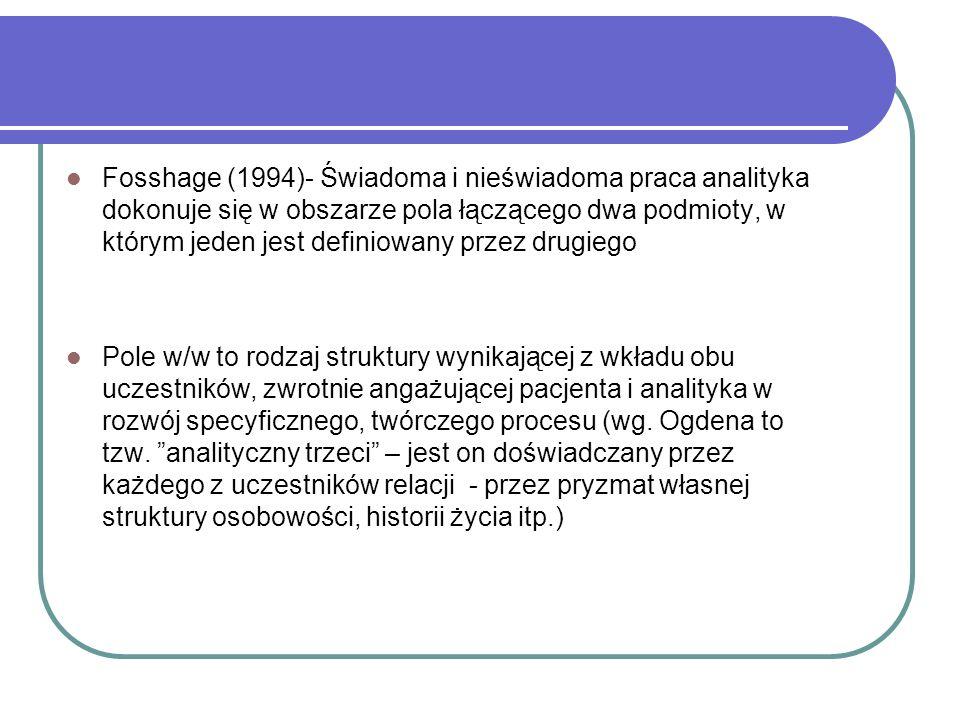 Fosshage (1994)- Świadoma i nieświadoma praca analityka dokonuje się w obszarze pola łączącego dwa podmioty, w którym jeden jest definiowany przez drugiego Pole w/w to rodzaj struktury wynikającej z wkładu obu uczestników, zwrotnie angażującej pacjenta i analityka w rozwój specyficznego, twórczego procesu (wg.