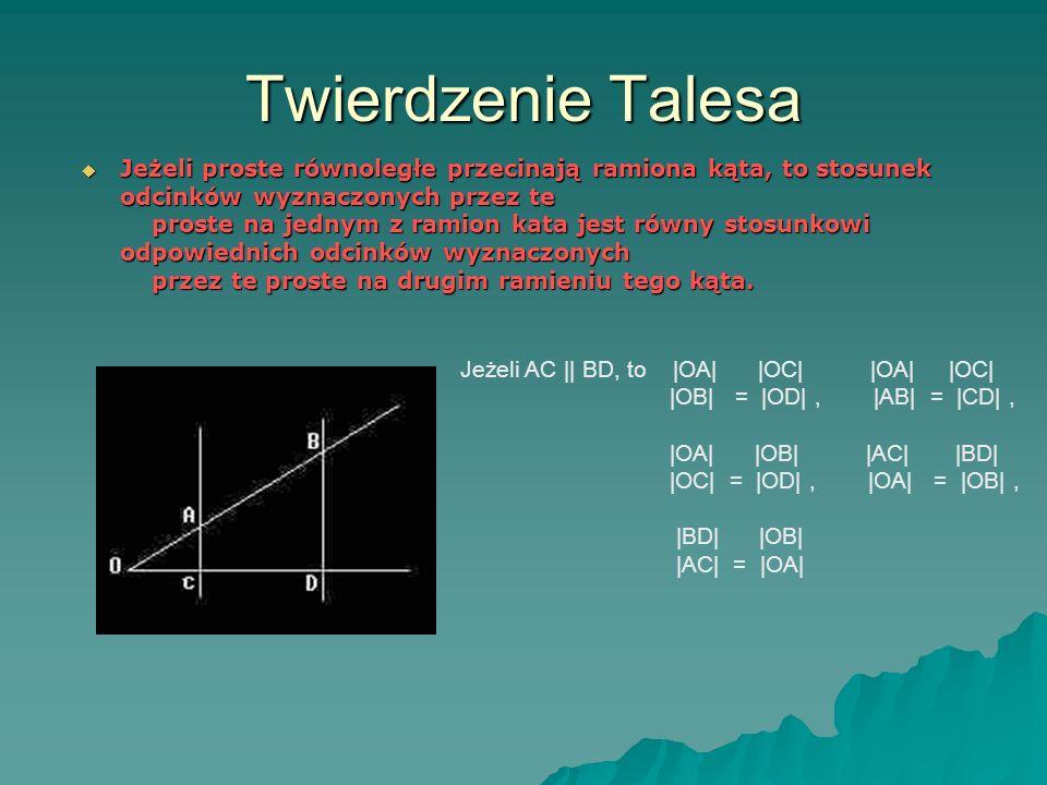 Twierdzenie Talesa Jeżeli proste równoległe przecinają ramiona kąta, to stosunek odcinków wyznaczonych przez te proste na jednym z ramion kata jest równy stosunkowi odpowiednich odcinków wyznaczonych przez te proste na drugim ramieniu tego kąta.